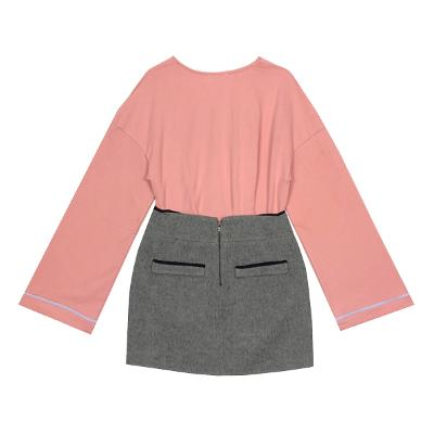 frill point v neck t-shirt pink & wool pocket mini skirt